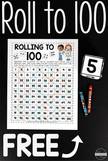 Count to 100 Game - this fun, free printable kindergarten math games is a great count to 100 activities for practie counting to 100 #kindergarten #countto100 #kindergartenmath
