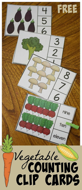 FREE Vegetable Count to 10 Clip Cards - these are so cute for practicing not only counting, but number words too! Plus it is a great way to mix in some vegetable vocabulary for preschool, prek, and kindergarten age kids.(count to 10 activities, count to 10 preschool, count to 10 kindergarten, count to 10 toddlers)