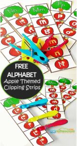 FREE Apple Alphabet Clip Strips - this is such a fun fall themed activity for preschool, prek, kindergarten age kids to practice their letters. LOW PREP letter recognition activity! #kindergarten #alphabet #apples
