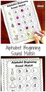FREE Beginning Sounds Worksheets - Prek, Kinderarten, and first grade students will have fun practicing identifying beginning sounds of alphabet letters with this fun, NO PREP, phonics activities #phonics #beginingsounds #kindergarten