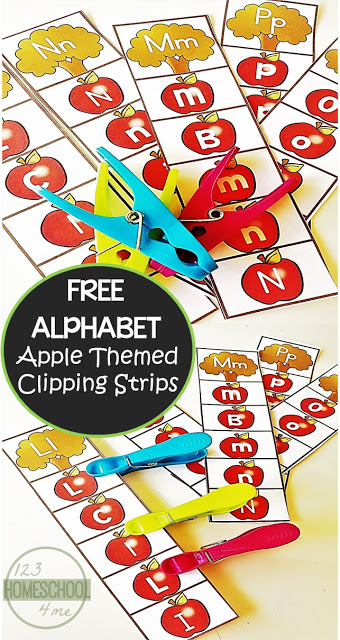 FREE Apple Alphabet Clip Cards for preschool, prek, kindergarten age kids to practice their letters with a fun fall activity