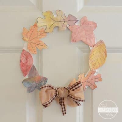 super cute and easy to make Fall Leaf Craft for Kids using paper, paper plate, paints, scissors, and double sided tape