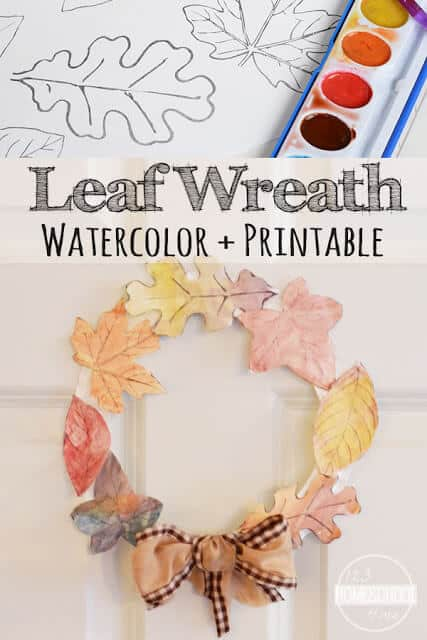 Leaf Wreath Craft - super cute and fun to make fall craft for kids using printable leaves leaf template to make a leaf wreath. The fall crafts for kids toddler and fall crafts for kids preschool is easy to make, but makes a beautiful easy homemade fall decorations .(free printable leaves) #craftsforkids #leaves #preschool