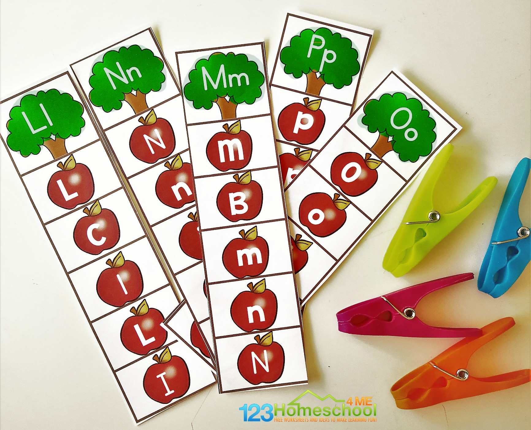 Letter Recognition Games Printable.Free Alphabet Apple Clipping Strips 123 Homeschool 4 Me