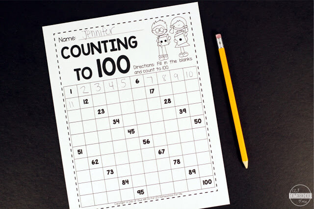 Roll to 100 - printable math worksheets for preschool, kindergarten, first grade