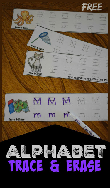 FREE Alphabet Trace and Erase - Alphabet practice kindergarten that is reusabel! These are such a fun, easy, and reusable way for preschool, prek, kindergarten, and first grade to practice writing alphabet letters. Great for summer learning, literacy centers, homeschool, and more! (alphabet practice printable)