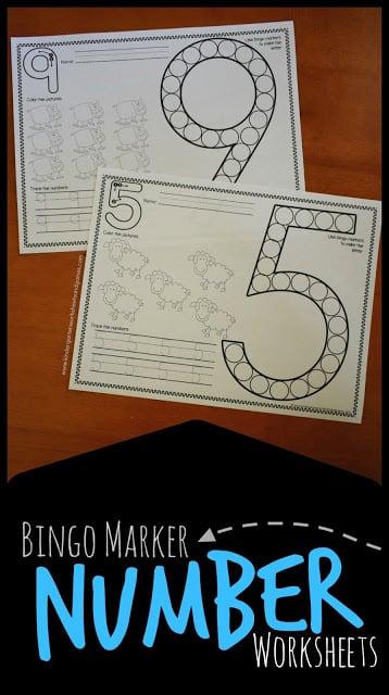 Farm Bingo Marker Number Worksheets