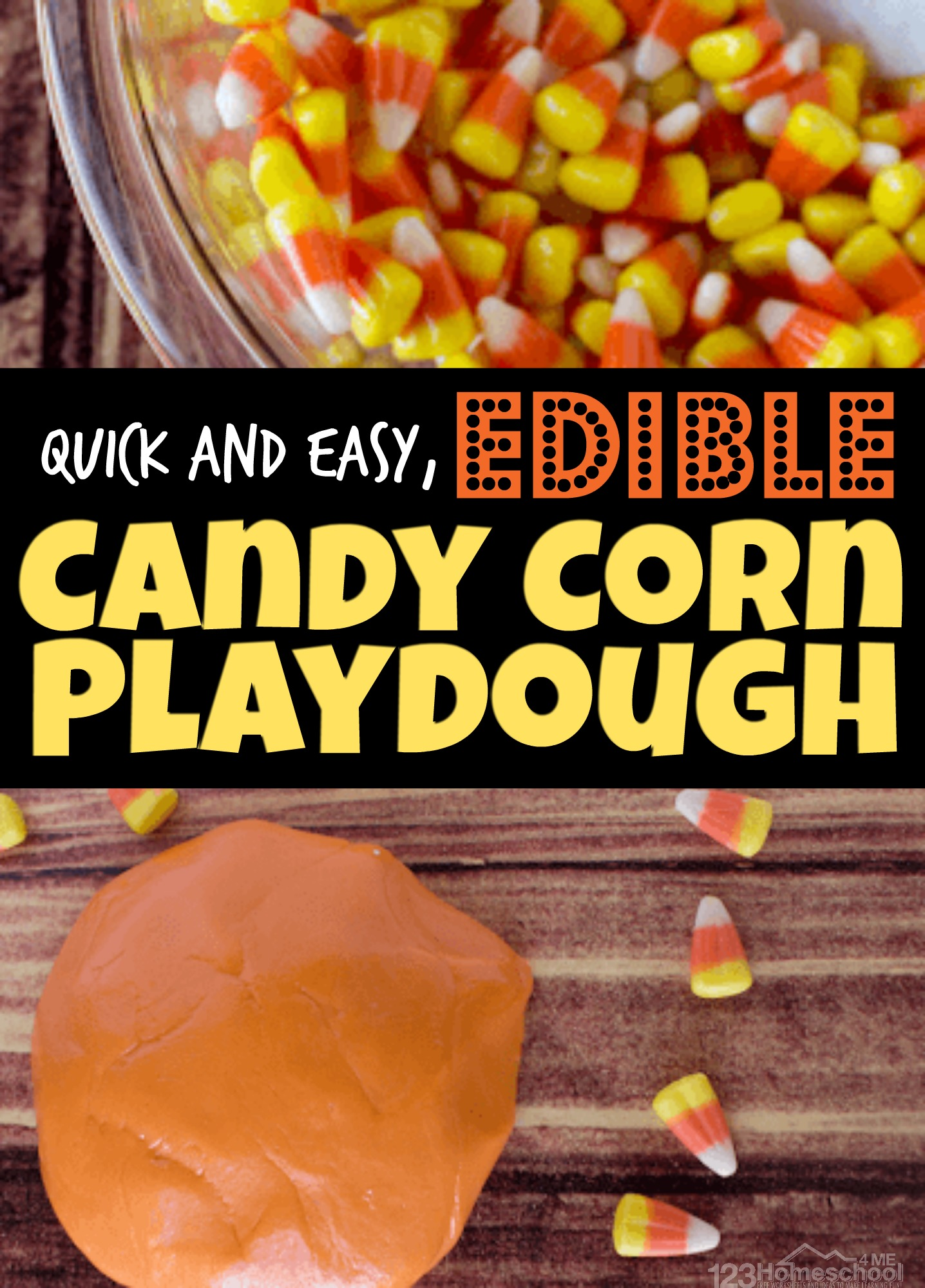 In less than 5 minutes you can have this delicious, fall themed candy corn playdough. This edible playdough is super quick and easy to make, fun to play with during October and November, plus it uses fall favorite candy corn candy! Your toddler, preschool, pre k, kindergarten, and first grade students will love playing with this easy Playdough Recipe that is made from candy corn!