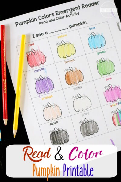FREE Color Words printable activity! This color words kindergarten worksheet is such a fun way for kids from preschool, prek, kindergarten, and first grade to learn color words with a printable fall activity for kids
