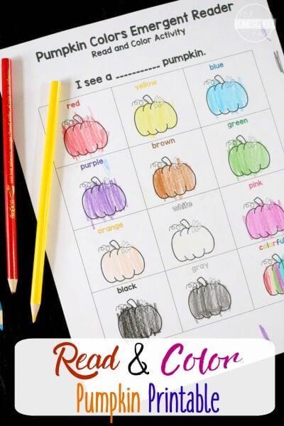 FREE Pumpkin Color Words Printable