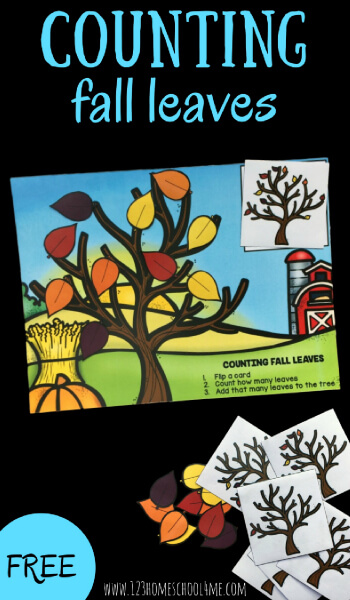 This super cute, free printable counting leaves activity is a fun way to encourage counting to 10 with preschool, pre k, and kindergarten age children. Kids will draw a counting card and then place the appropriate number of fall colored leaves on the fall counting mats to count 1-10