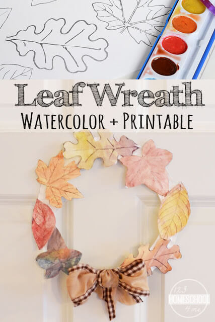 Super cute and fun to make fall craft for kids using printable leaves leaf template to make a leaf wreath. The fall crafts for kids toddler and fall crafts for kids preschool is easy to make, but makes a beautiful easy homemade fall decorations .(free printable leaves)