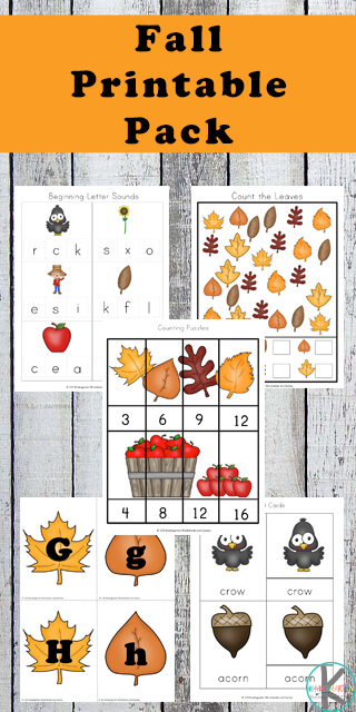 FREE fall worksheets for kids - toddler, preschool, prek, kindergarten for alphabet, math