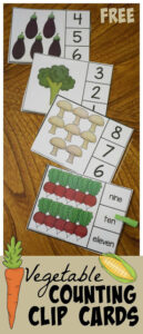 Count to 10 Vegetable Clip Cards
