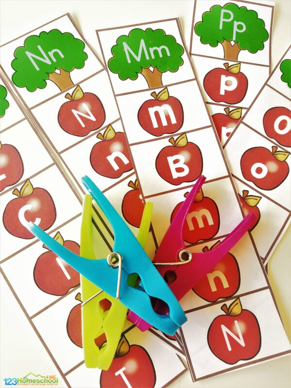 Free Alphabet Strips to help kids practice matching upper and lowercase letters with a fun apple themed activity for prek and kindergarten