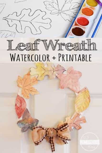 Fall is right around the corner! I just love this time of year. The air is starting to cool, and the leaves are beginning to change. Today we have are making a beautiful leaf craft that uses a free printable wreath template to make this fall craft for kids. This printable fall craft incorporates all the different styles of leaves, each painted with glorious fall colors of red, orange, yellow, purple, and brown. This leaf craft ideas is great for toddler, preschool, pre-k, kindergarten, first grade, 2nd grade, 3 graders, and up. Simply print free printable leaf template to paint your own fall leaves with watercolors and enjoy a lovely fall wreath!