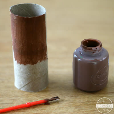paint toilet paper roll brown for turkey craft