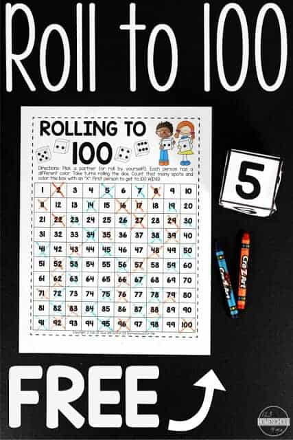 This super cute, free printable, Count to 100 Math Game will make it fun for children to practice counting to 100 and improve their number sequencing. This roll to 100 math game is a fun free math game for kindergarten, first grade, and second grade students as they learn to count to 100 using a interactive hundreds chart. Simply download pdf file with the roll to 100 free printable and you are ready to make learning fun with a math activity kids will enjoy!