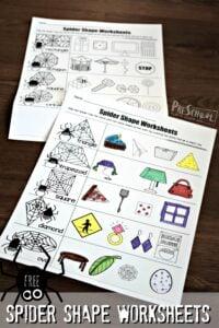 Spider Shape Worksheets