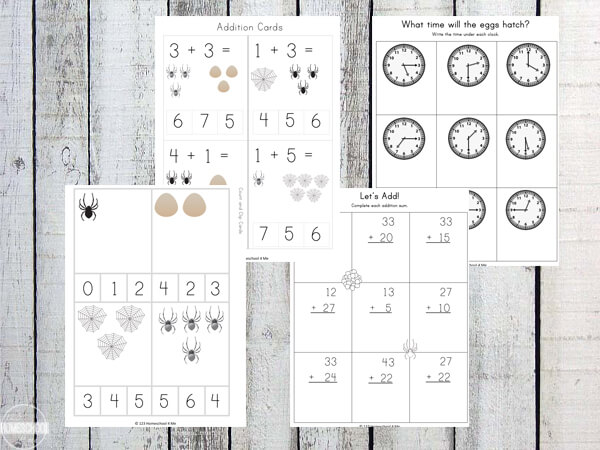 spider math including counting, addition, subtraction, and telling time
