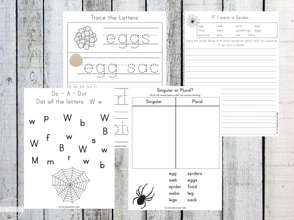 spider tracing, alphabet, plurals, writing prompts