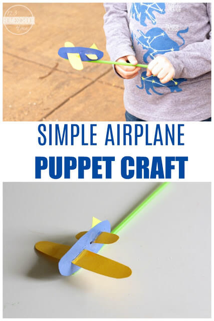 Simple Airplane Puppet Craft 123 Homeschool 4 Me