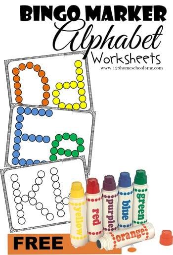picture relating to Printable Bingo Markers named Clean! Bingo Marker Alphabet Worksheets 123 Homeschool 4 Me