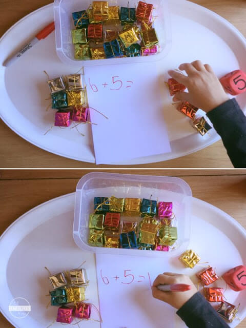 Christmas Addition Game, Kindergarten Math