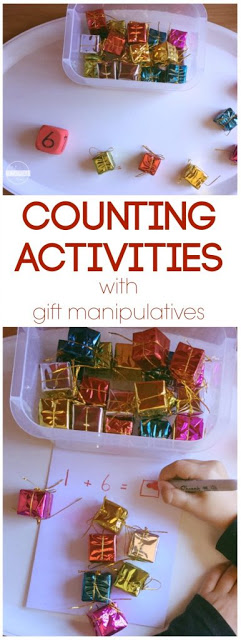 This fun Christmas Counting Activity lets kids practice counting to 20, counting to 100 or us it as an addition game to help preschool, kindergarten, first grade, and 2nd grade practice math with a fun twist. Great math center for December!