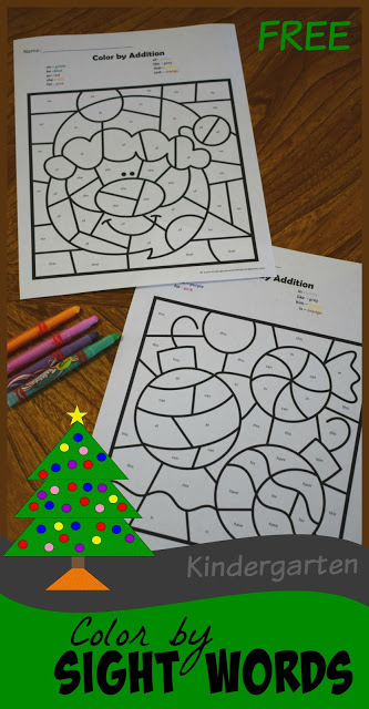 Christmas Color by Kindergarten Sight Words