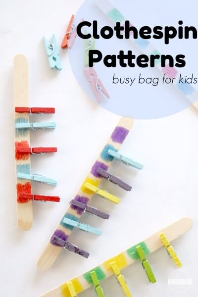 Clothespin Patterns Busy Bag Ideas - This is such a clever way for kids to practice identifying colors and patterns for preschoolers,for toddlers, and kindergarten. This is perfect for on the go, for in the car, and can easily be made from things from the dollar store!
