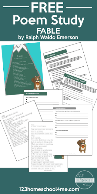 FREE Ralph Waldo Emerson Worksheets (Poetry for Kids) - printable for teaching upper elementary including writing, grammar, copywork, vocabulary and so much more. These free poetry worksheets for kids are great for leaning about poems