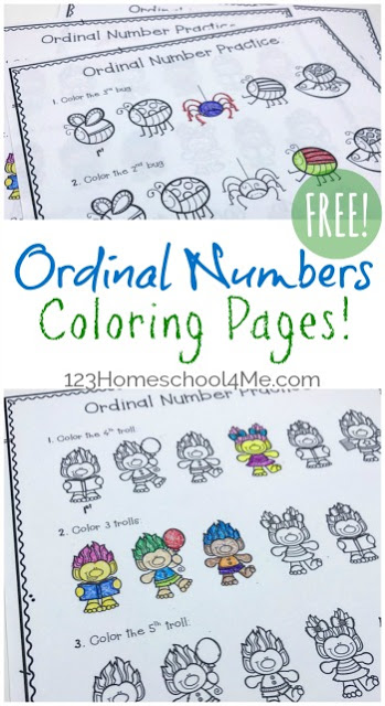 Super cute, free printable ordinal numbers worksheet pack is perfect for teaching kids in pre-k, kindergarten, first grade, and second grade students about position words such as 1st, 3rd, last, etc . I hope your children love coloring and with these free ordinal numbers worksheet activity!  Simply download pdf file, print and color to teach students with a no prep free math worksheet for kids!
