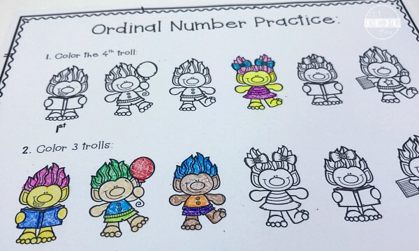 Ordinal Numbers math worksheets for kindergarten, first grade
