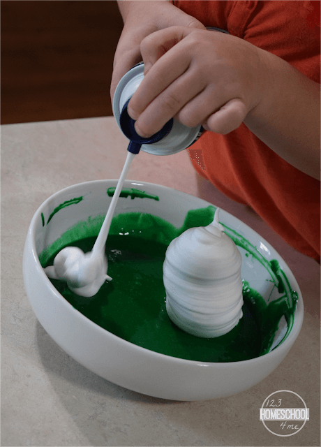 add shaving cream to make shaving cream slime