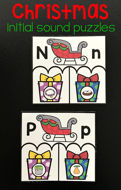 FREE Christmas Phonics Puzzles - this is a fun, easy to prepare Christmas learning activities perfect for kids and children in preschool, kindergarten,and first grade to practice alphabet letters, phonics, and beginning sounds