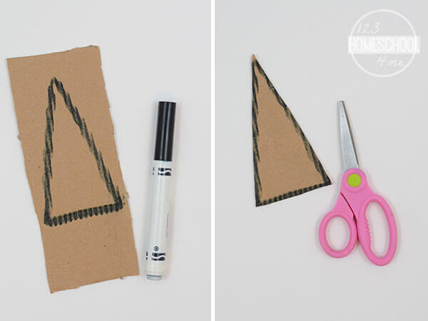 cut out a triangle out of cardboard to make this Christmas tree craft for kids