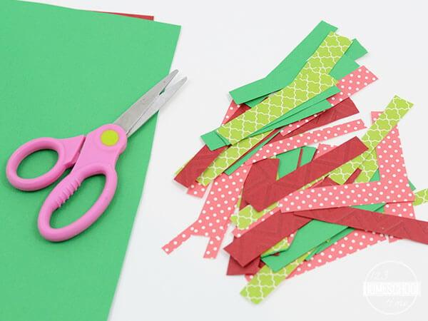 cut paper strips to make this fun preschool craft for kids