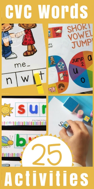 25 Free CVC Words Activities and Printables - so many cvc words activities and worksheets for kindergarten, preschool, first grade that turn learning into a game