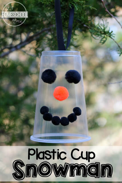 Plastic Cup Snowman - this is such a cute, easy to make, DIY, snowman ornament for kids to make. It is such a cute homemade craft that makes a great homemade gift, handmade ornament and Christmas craft