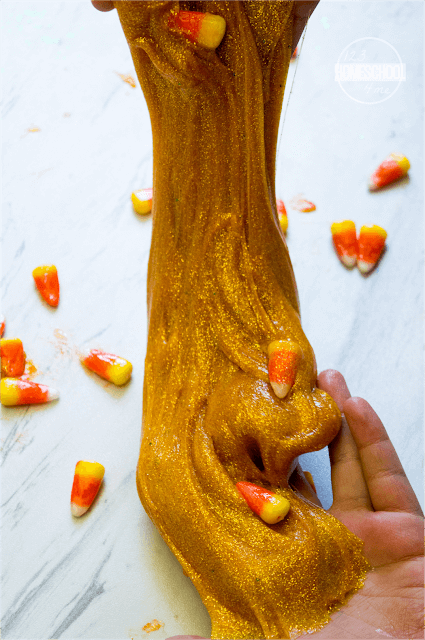 fall candy corn slime recipe