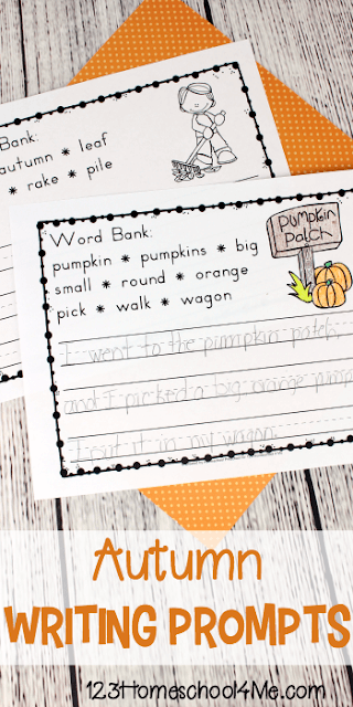 It's autumn! Encourage young students to write with these super cute, free printable, fall writing prompts. Simply download the pdf file and you are ready to use these creative writing prompts to encourage kindergarten, first grade, and 2nd grade students to practice writing this September, October, and November. Each of these fall writing worksheets have cute clipart, ruled lines, a word bank, and additional word cards.