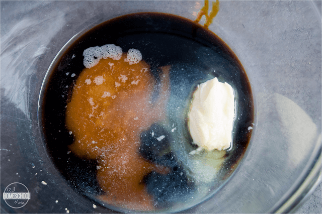 mix brown sugar, butter, molasses, and water in a bowl