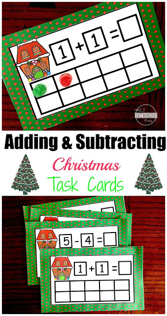 Sneak in some Christmas Math for preschool, pre-k, and kindergarten children with these Christmas Ten Frames cards. Download the pdf file with free Christmas printables. Each math task card has prompt to help students Add or Subtract within 5 using a 10 frame. Use Christmas candy like gumdrops, skittles, or peppermint candies as a hands-on manipulate for Christmas Addition and Christmas Subtraction to 5 this December holiday season.