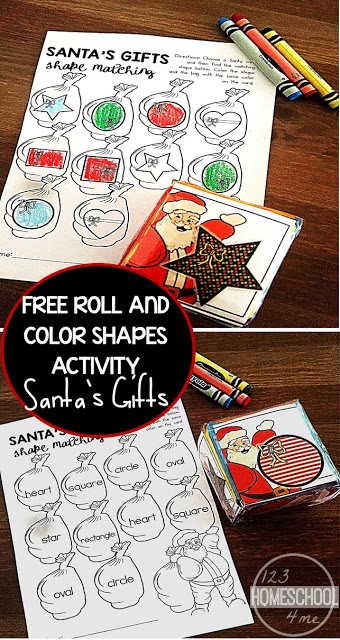 Make practicing shapes fun with this Shapes Christmas Game for preschool, pre-k, kindergarten, and first grade students during the holiday season in December. Simply download pdf file with the free Christmas worksheets, roll the dice, and color in the shape Santa Claus shared. This shape recognitionactivity is such a funChristmas Math idea for early learners.