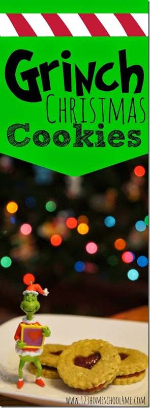 You've got to try these super cute, simple-t0-make grinch christmas cookies. These buttery, jam filled Christmas cookies recipe are not only delicious, but they are a fun grinch recipes. Try this fun cookie recipe for Christmas this December as a fun cookie to make together with your kids before watching the Grinch movie! I just love fun, themedChristmas activities for kids!