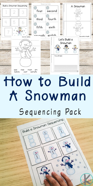 FREE Snowman Sequencing Worksheets are a fun way for preschool, kindergarten, first grade, and 2nd practice sequencing. Includes sequencing activities like cut and paste, emergent reader, sequencing worksheets and more with a fun winter theme for kids.