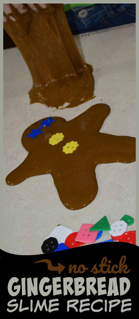No Stick Gingerbread Slime Recipe - this Christmas slime recipe is AMAZING! Kids will have fun decorating their gingerbread. Such a fun Christmas activity for kids #gingerbreadman #christmas #christmasactivity #slime #slimerecipe #christmasfun #toddler #preschool #kindergarten