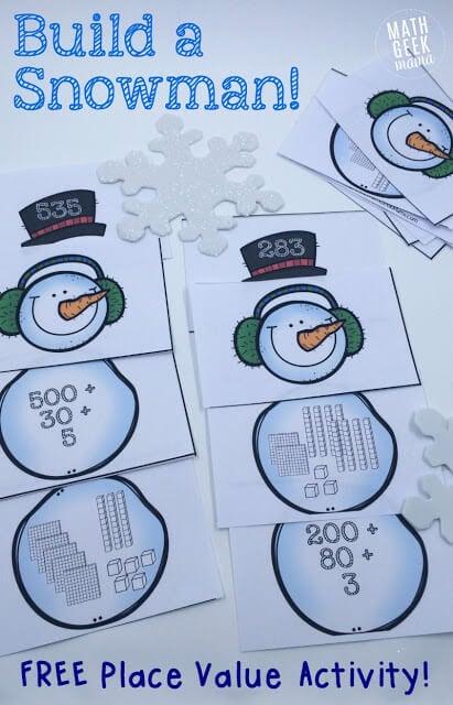 FREE Printable Place Value Snowman (math game, homeschool, kindergarten, 1st grade, 2nd grade, 3rd grade, math activity)