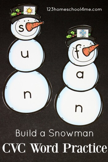 FREE Snowman CVC Words - this printable activities will help preschool, kindergarten, first grade, and 2nd grade practice simple words with a fun winter theme. Perfect for centers